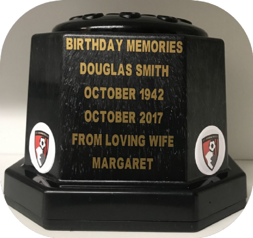 Bournemouth A.F.C. football personalised Grave pots  50p black